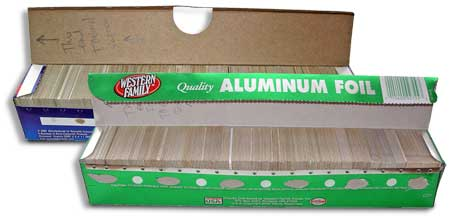 storing slides in aluminum foil boxes